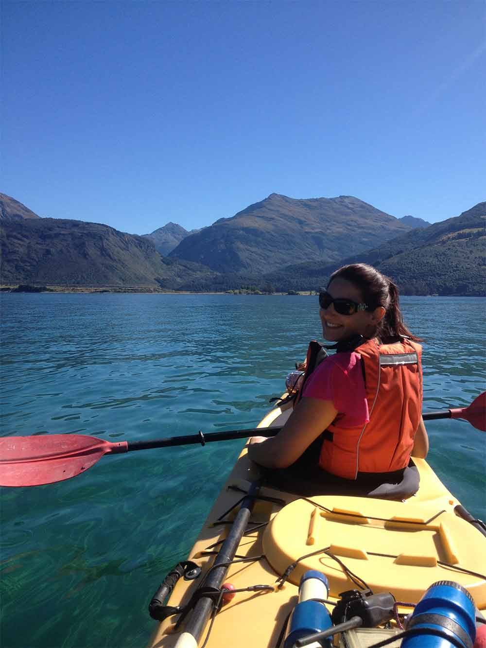 Kayaking at the head of Lake Wakatipu.